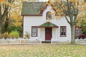 Home and white picket fence